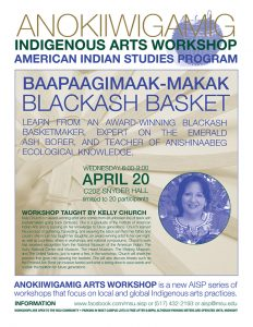 Flyer containing the information about the anokiiwigamig indigenous arts workshop