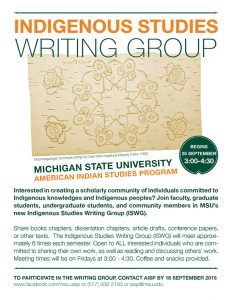 a flyer of information pertaining to indigenous studies writing group