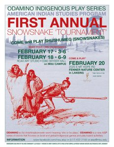 flyer with information pertaining to the first annual snowsnake tournament