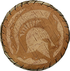 a brown medallion with the msu spartan logo printed on it