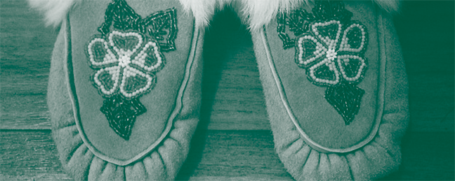 a close-up of a pair of moccasins