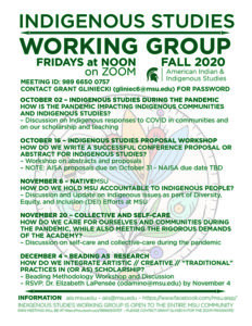 flyer for indigenous studies working group event